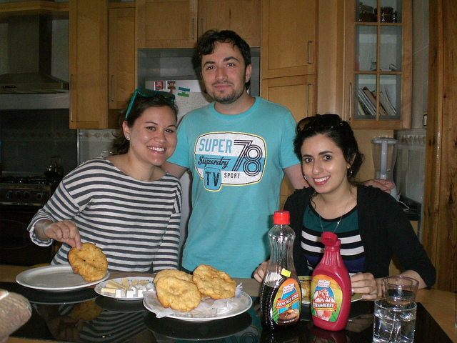 Laura, Hamza and Sarah enjoy a Chechen breakfast.