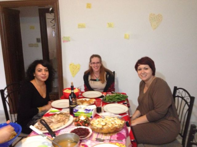 Thanksgiving in Amman (L to R: Taline, Jennifer, Marta)