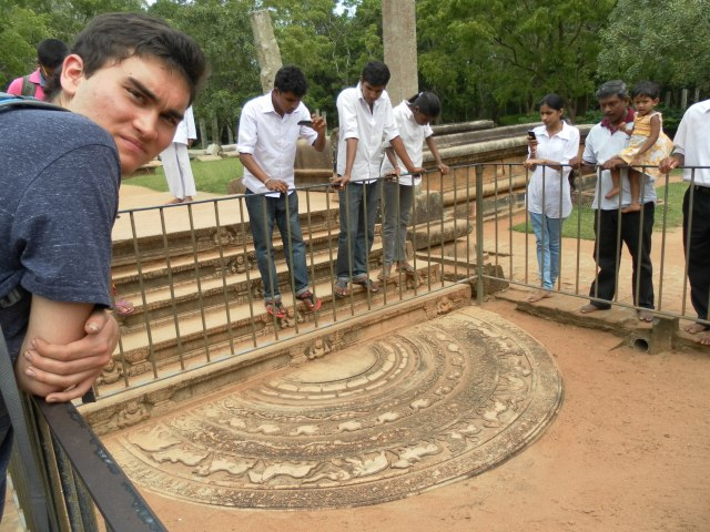 Erik and a moonstone in ruins of ancient Anuradhapura