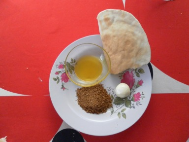 Olive oil, bread, labneh, and za'atar: the perfect snack.